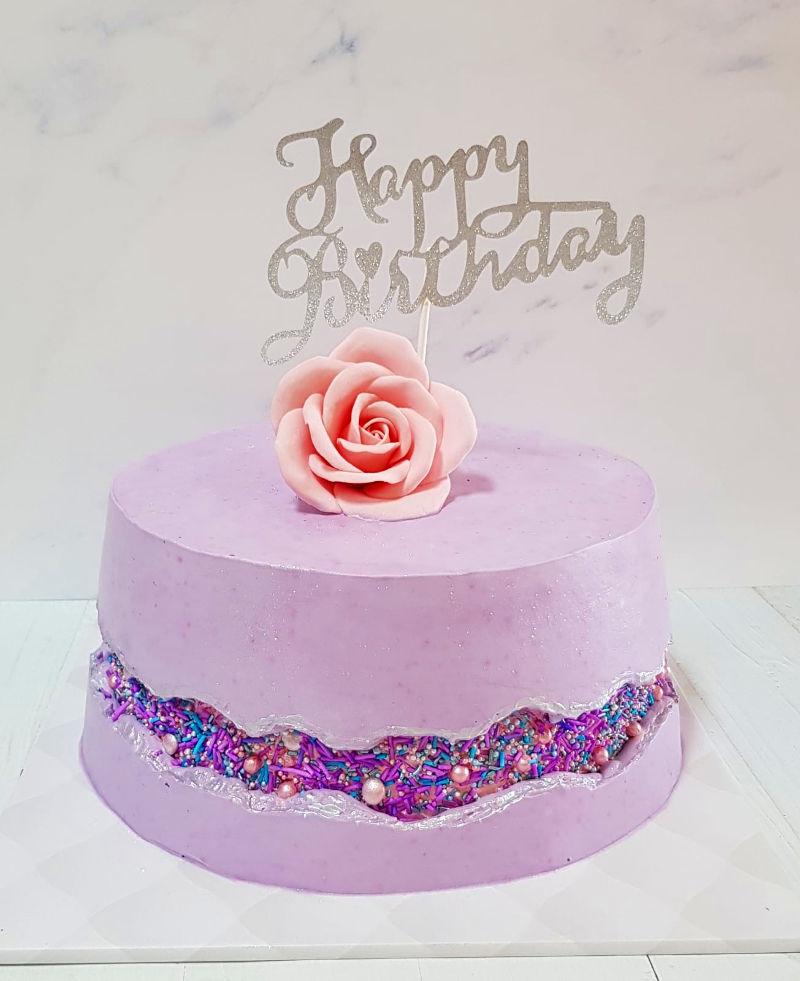PINK FAULT LINE CAKE